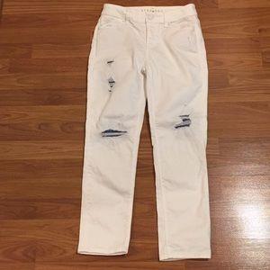 White House Black Market White Distressed Jeans